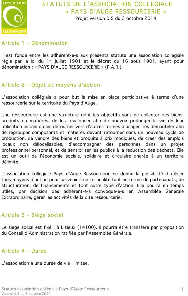 Les statuts de l'association Pays d'Auge Ressourcerie