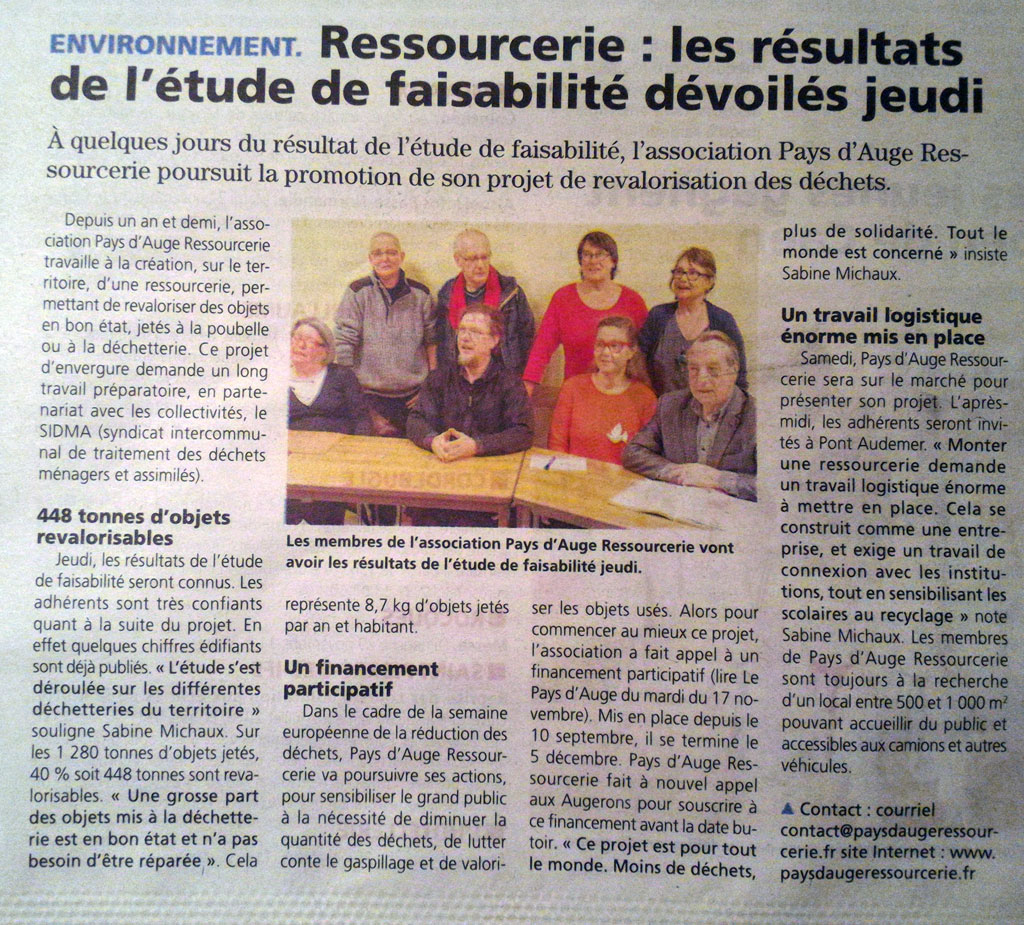 Ressourcerie : les résultats de l'étude de faisabilité dévoilés jeudi