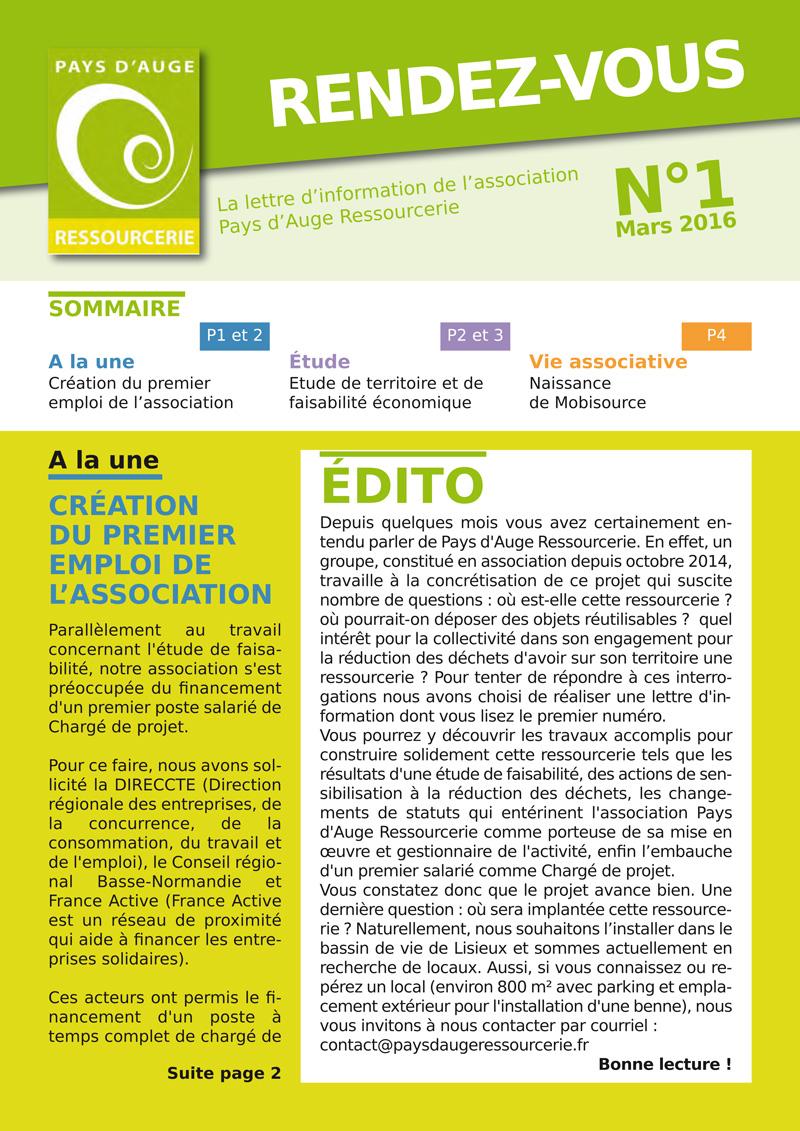 Rendez-vous N°1 : la lettre d'infos de Pays d'Auge Ressourcerie