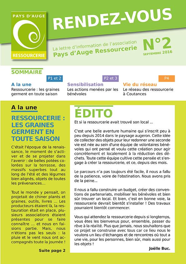 Rendez-vous N°2 : la lettre d'infos de Pays d'Auge Ressourcerie
