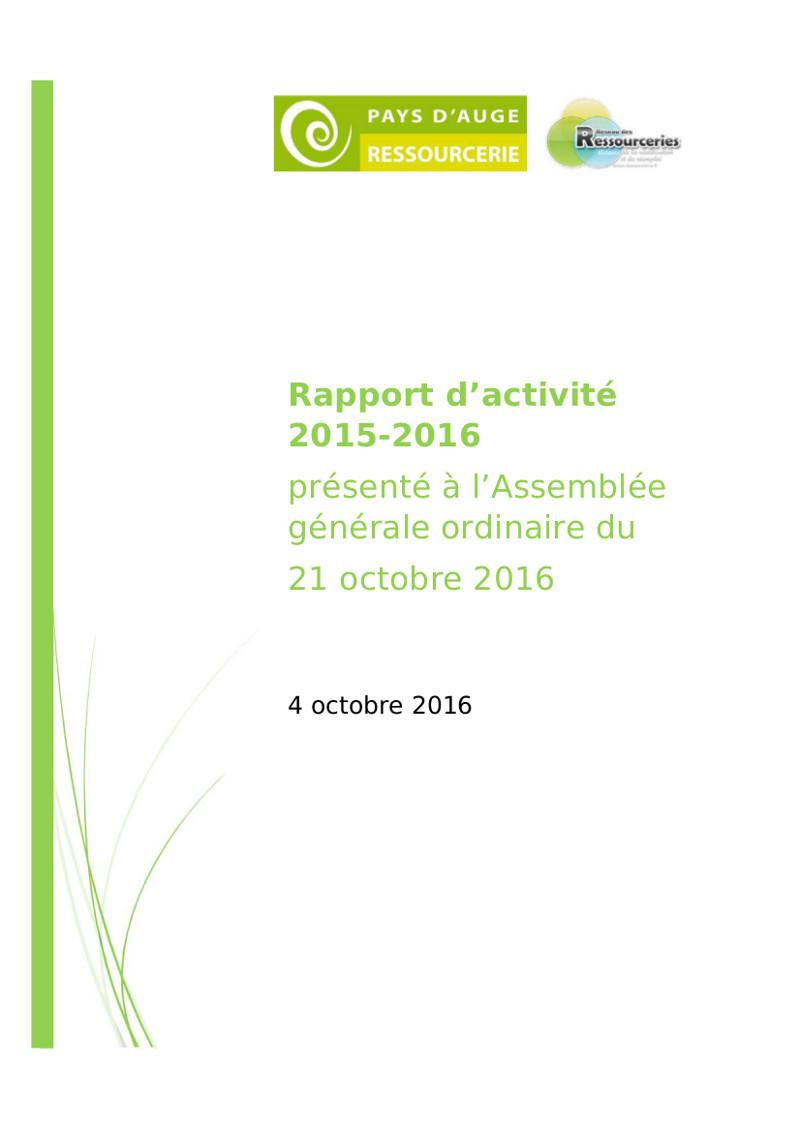 Rapport d'Activité 2015-2016 de Pays d'Auge Ressourcerie