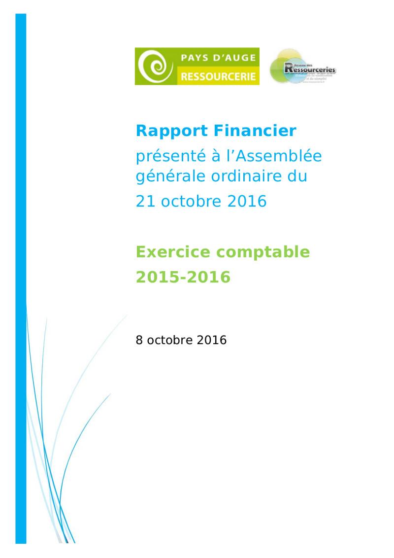 Rapport financier 2015-2016 de Pays d'Auge Ressourcerie