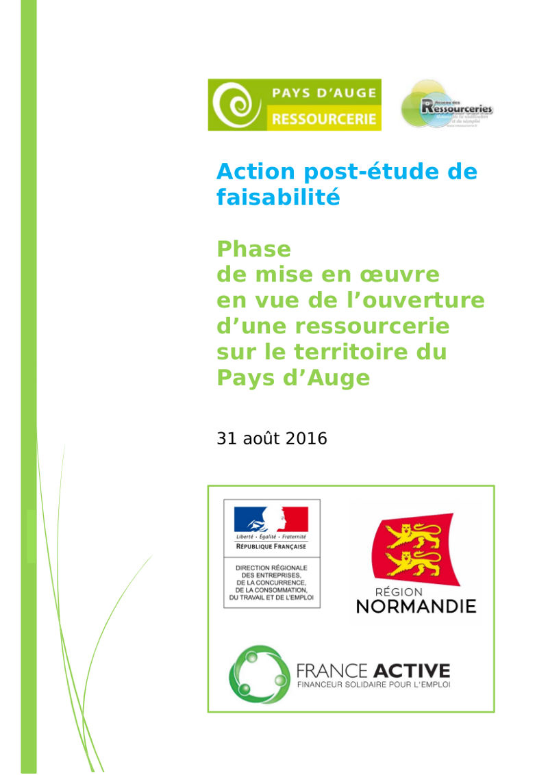 Rapport – Phase de mise en œuvre en vue de l'ouverture d'une ressourcerie sur le territoire du Pays d'Auge