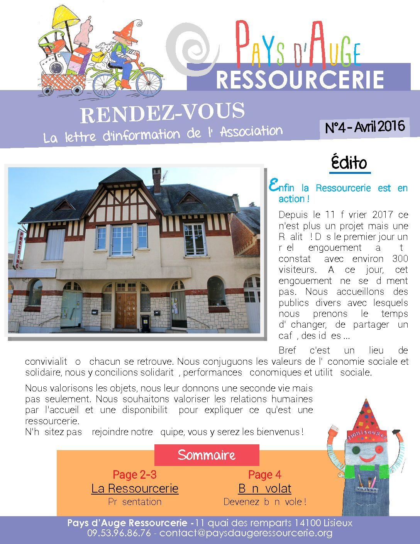 Rendez-vous N°4 : la lettre d'infos de Pays d'Auge Ressourcerie